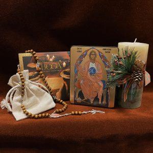 Prezent Świąteczny: Ikona XS, Różaniec Drewniany z Bogiem Ojcem i płyta z kolędami uRodziny Boga